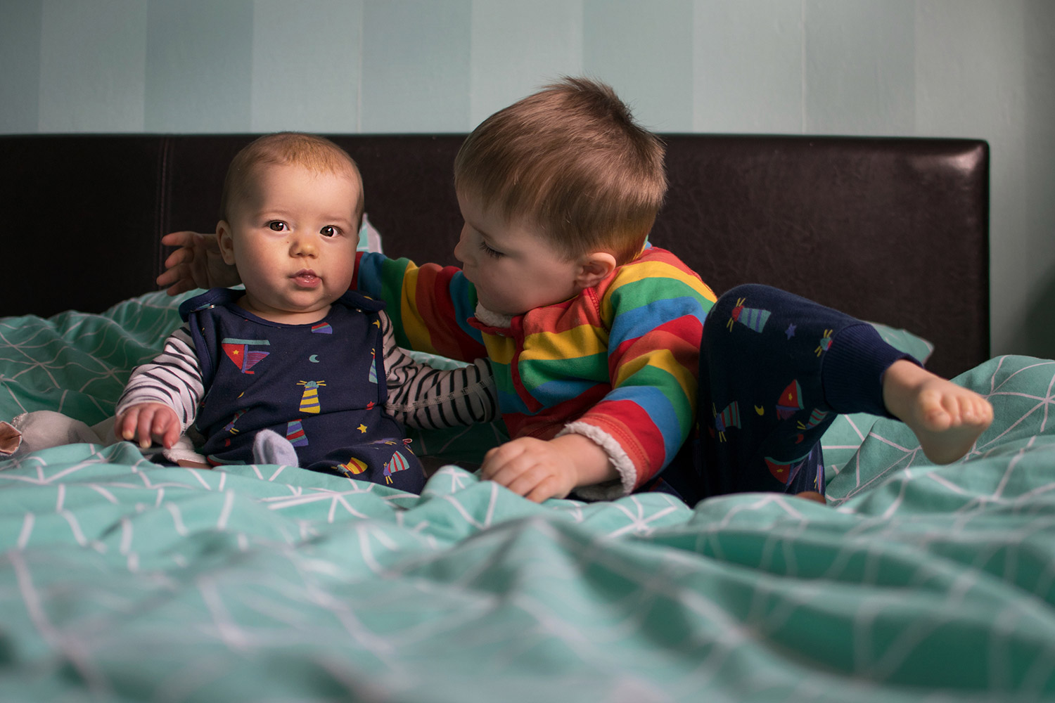 Big Brother, Little Brother {Fashion Friday 048} - 3 year old and twinning 6 month old brother wearing Piccalilly lighthouse print dungarees and harem trousers and Frugi rainbow fleece top