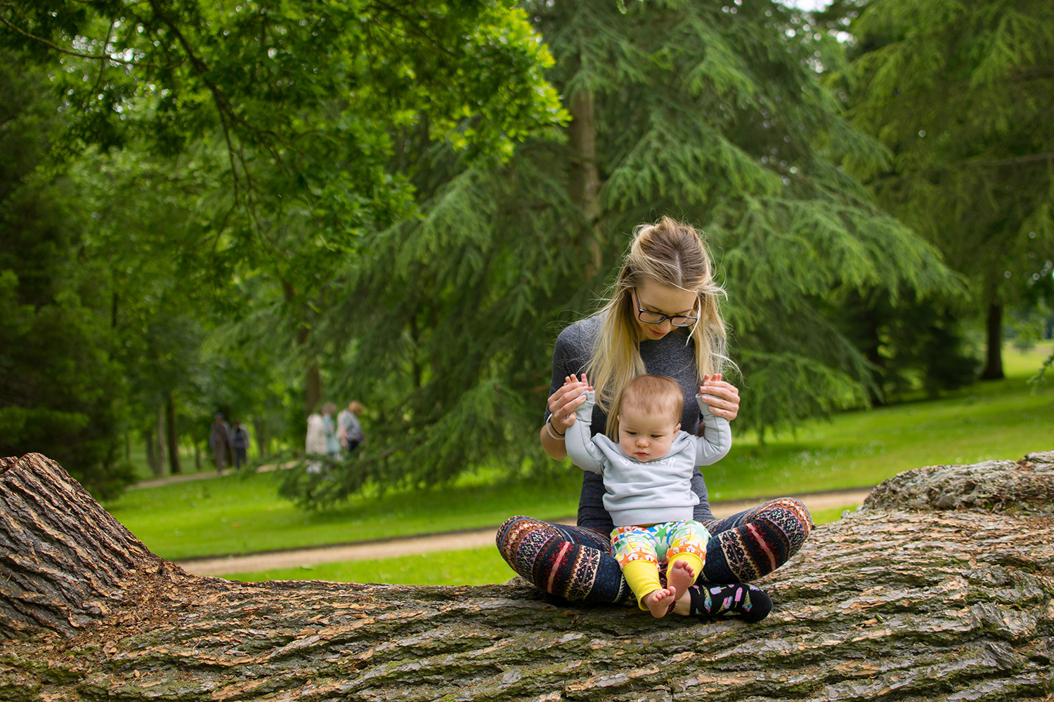 'Time to make a big decision' {The Ordinary Moments 21} - Mum and baby boy wearing Bob and Blossom 'brother' sweatshirt and Boys & Girls star rainbow leggings sitting together on log at Buscot Park, Oxford