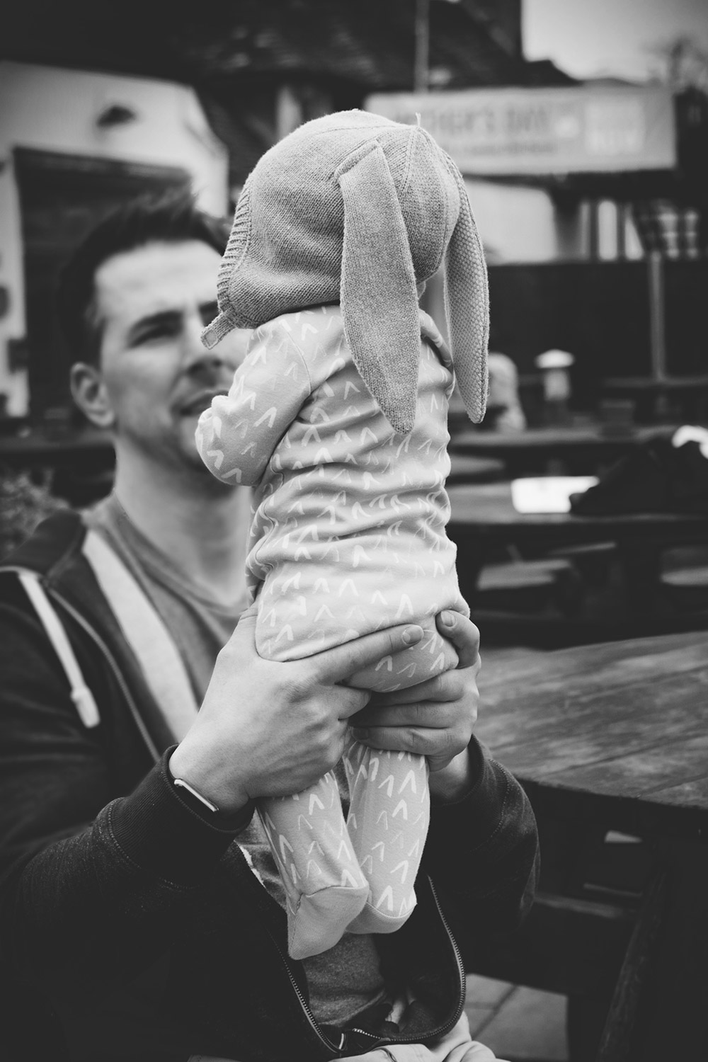 Father and 7 month old baby boy at the tearooms in Stratford-upon-Avon on a day out with family